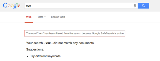 Results with Google Safe Search enabled