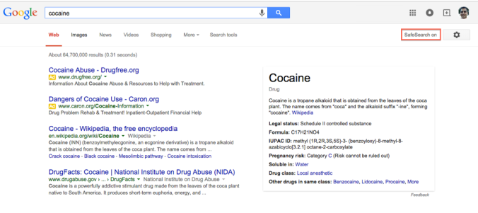 "Results for ""cocaine"" with standard Google safe search enabled"