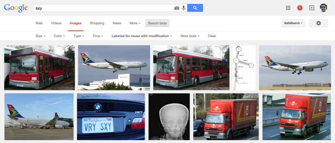 "Google safe image search results for ""sxy"" with the Creative Commons filter applied"