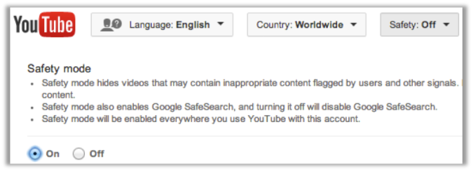 YouTube Safety Mode enables safe searching and hides videos that have been flagged for containing inappropriate content