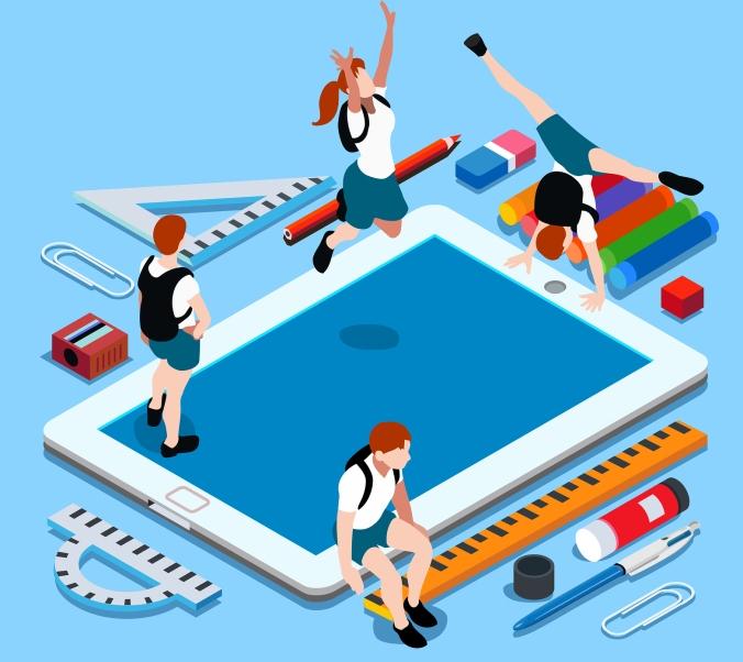 School Devices People Isometric
